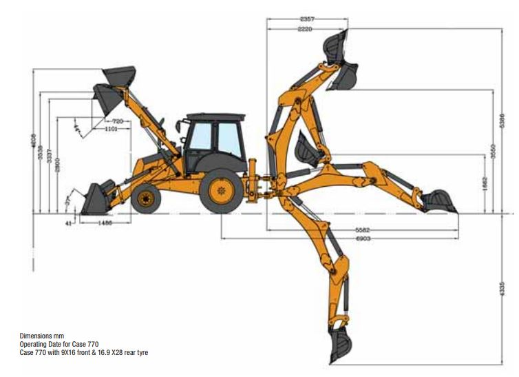 Case 770 Backhoe Loader General Dimensions