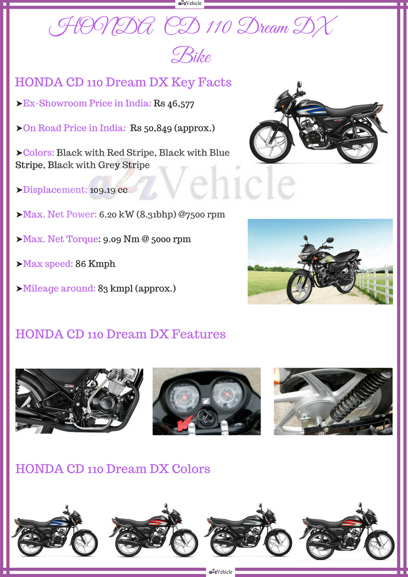 honda cd 110 dream dx on road price self start mileage