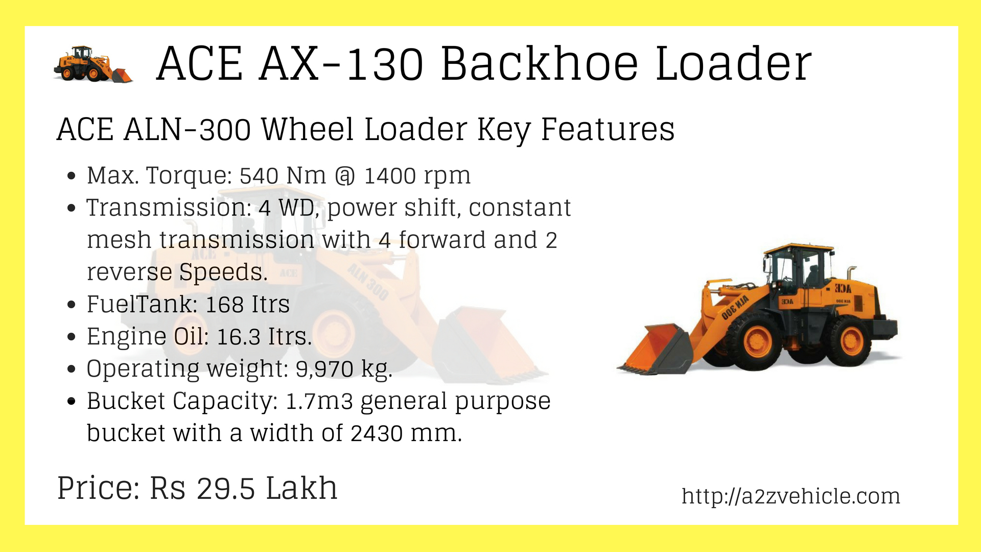 ACE ALN-300 Wheel Loader Price specs