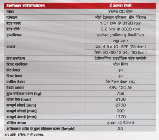 Mahindra E-alfa Mini Electric Rickshaw specifications