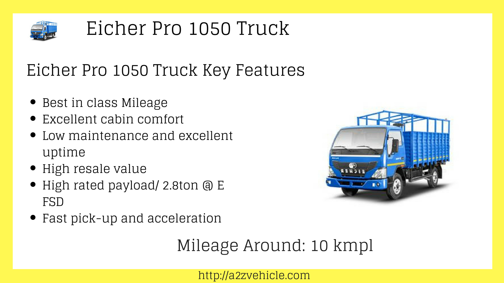 Eicher Pro 1050 Mileage Price Payload Specifications & Features